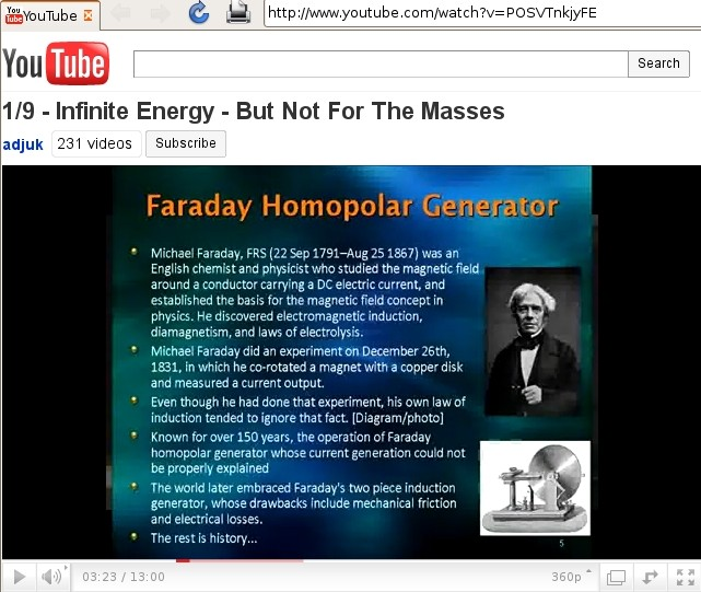 Michael Faraday did an experiment on December 26th, 1831, in which he co-rotated a magnet with a copper disk and measured a current output. Even though he had done the experiment, his own law of induction tended to ignore that fact. [Diagram/photo] Known for over 150 years, the operation could not be properly explained. The world later embraced Faraday's two piece induction generator, whose drawbacks include mechanical friction and electrical losses. The rest is history...