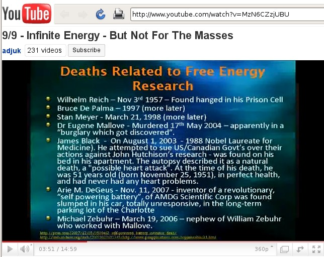 Deaths Related to Free Energy Research